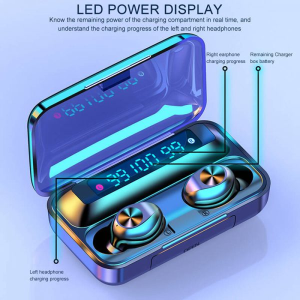 Touch Control Stereo Earphones Charging Case 3 Lcd Led Battery Display With Microphone Sports Earphones (7)