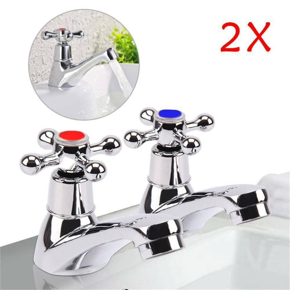 Traditional 2taps Twin Hot&cold Pair Tap Bathroom Basin Sink Chrome Water Faucet (2)