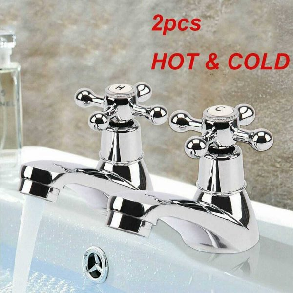 Traditional 2taps Twin Hot&cold Pair Tap Bathroom Basin Sink Chrome Water Faucet (3)