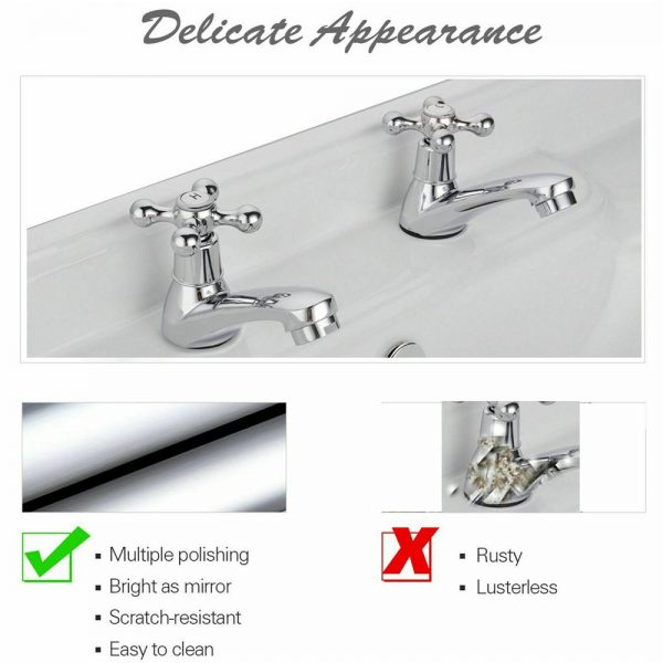 Traditional 2taps Twin Hot&cold Pair Tap Bathroom Basin Sink Chrome Water Faucet (8)