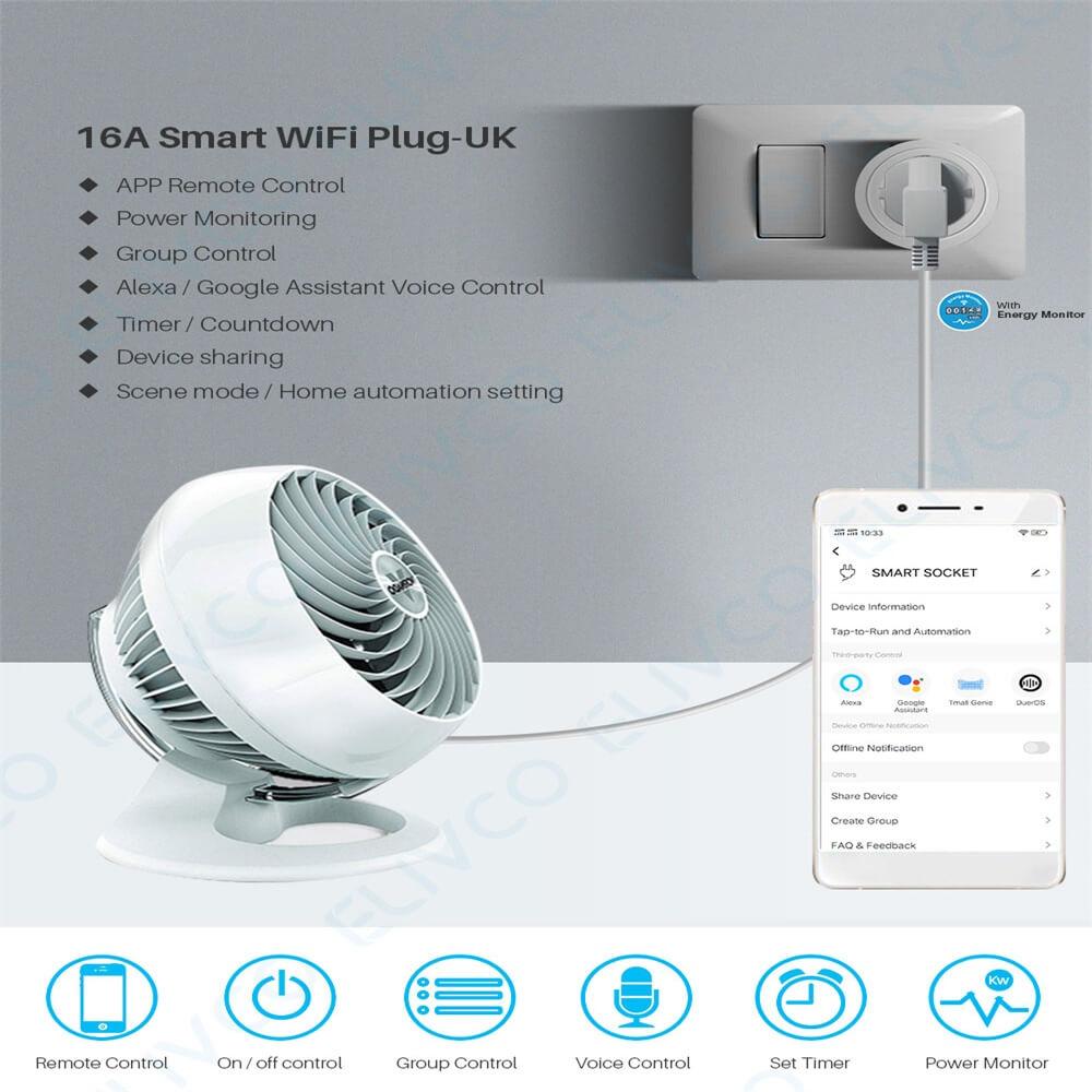 Uk Plug Wifi Smart Socket Power Plug Outlet Remote Control Home Mini Smart Socket (12)