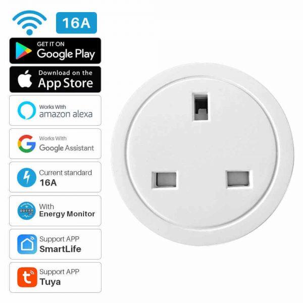 Uk Plug Wifi Smart Socket Power Plug Outlet Remote Control Home Mini Smart Socket (2)