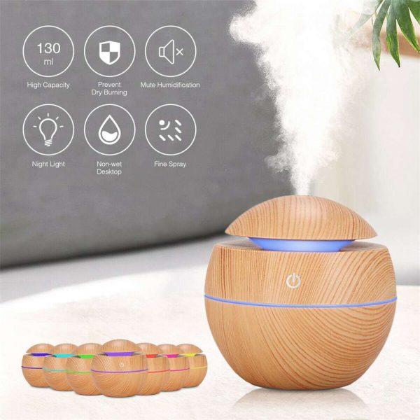 Usb Quiet Led Car Humidifier Air Purifier Essential Oil Aroma Diffuser (20)