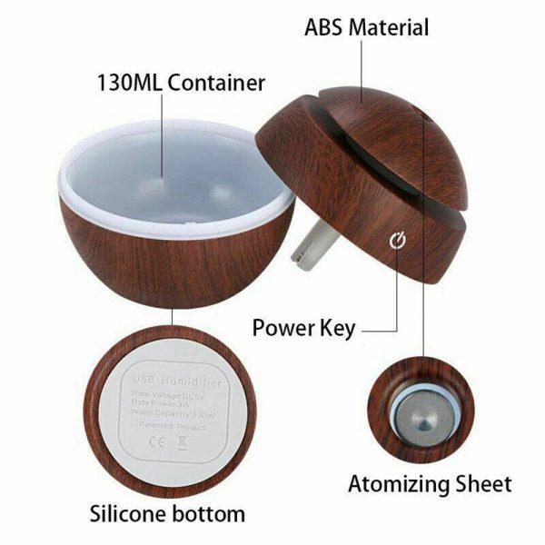 Usb Quiet Led Car Humidifier Air Purifier Essential Oil Aroma Diffuser (5)