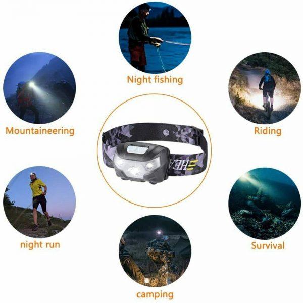 Waterproof Headlight Super Bright Head Torch Led Usb Headlamp Fishing Camping (11)