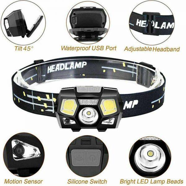 Waterproof Headlight Super Bright Head Torch Led Usb Headlamp Fishing Camping (6)