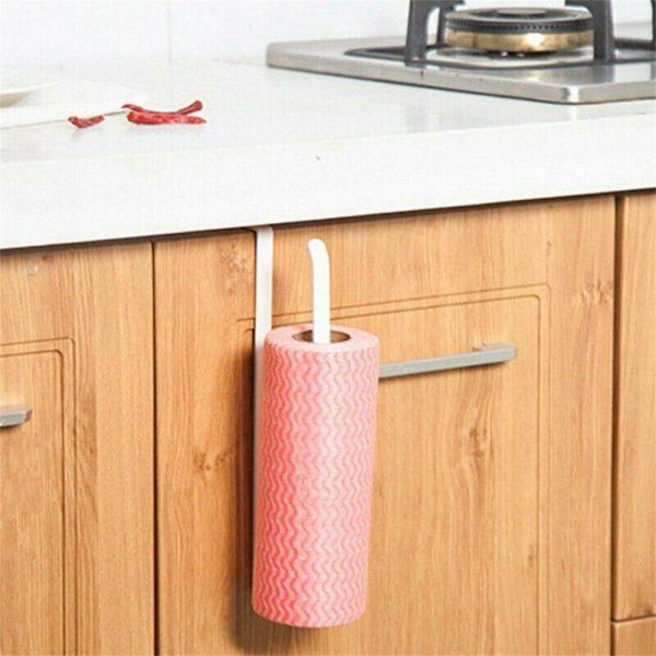 White Under Cabinet Paper Roll Rack Kitchen Hanger Towel Holder Wall Accessories (13)
