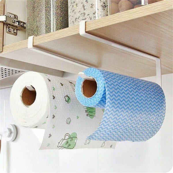 White Under Cabinet Paper Roll Rack Kitchen Hanger Towel Holder Wall Accessories (2)