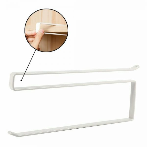 White Under Cabinet Paper Roll Rack Kitchen Hanger Towel Holder Wall Accessories (7)