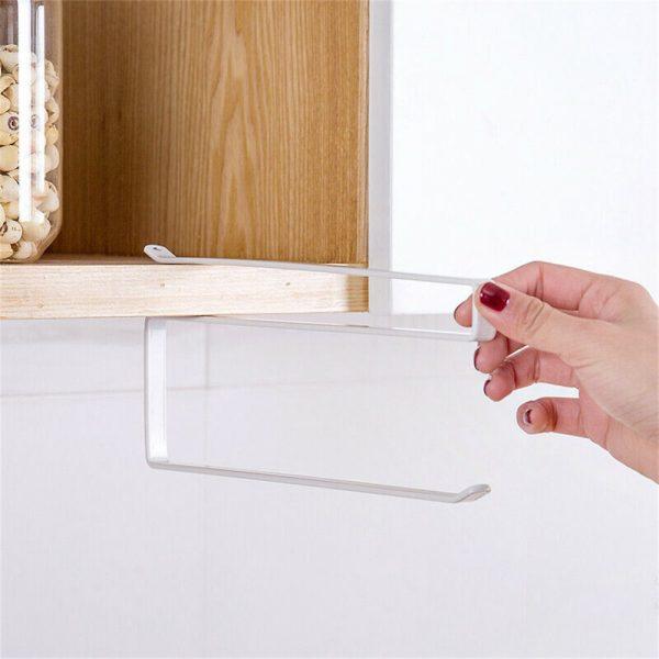 White Under Cabinet Paper Roll Rack Kitchen Hanger Towel Holder Wall Accessories (8)