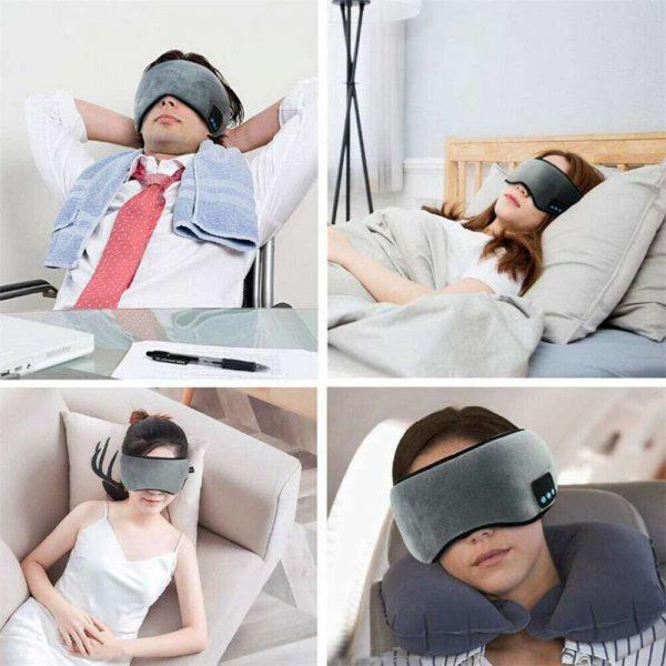 Wireless Bluetooth Stereo Sleep Earphone Built In Headphones Eye Mask Headset (14)