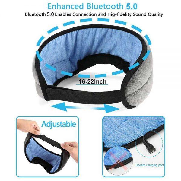 Wireless Bluetooth Stereo Sleep Earphone Built In Headphones Eye Mask Headset (17)