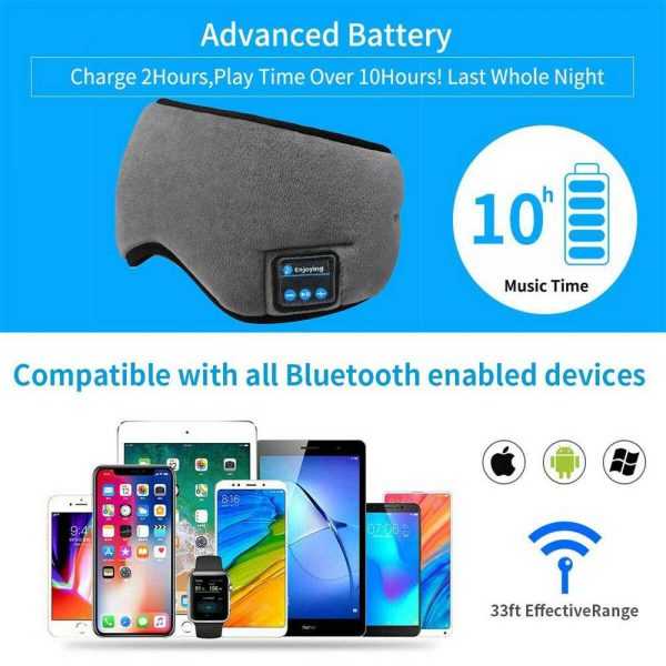Wireless Bluetooth Stereo Sleep Earphone Built In Headphones Eye Mask Headset (3)