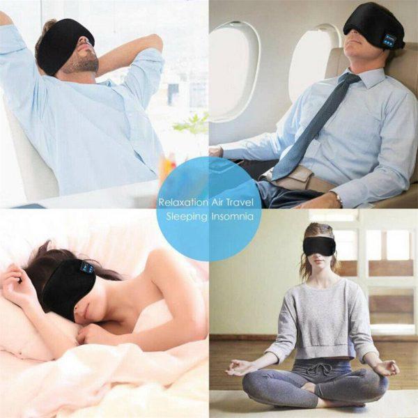 Wireless Bluetooth Stereo Sleep Earphone Built In Headphones Eye Mask Headset (5)