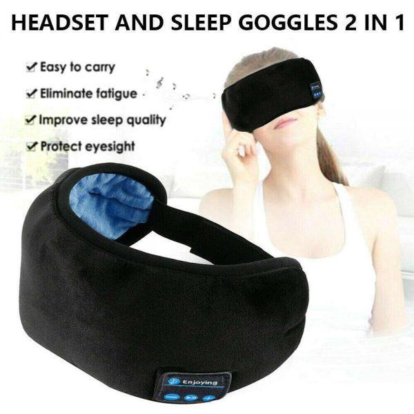 Wireless Bluetooth Stereo Sleep Earphone Built In Headphones Eye Mask Headset (6)