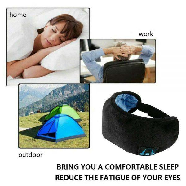 Wireless Bluetooth Stereo Sleep Earphone Built In Headphones Eye Mask Headset (8)