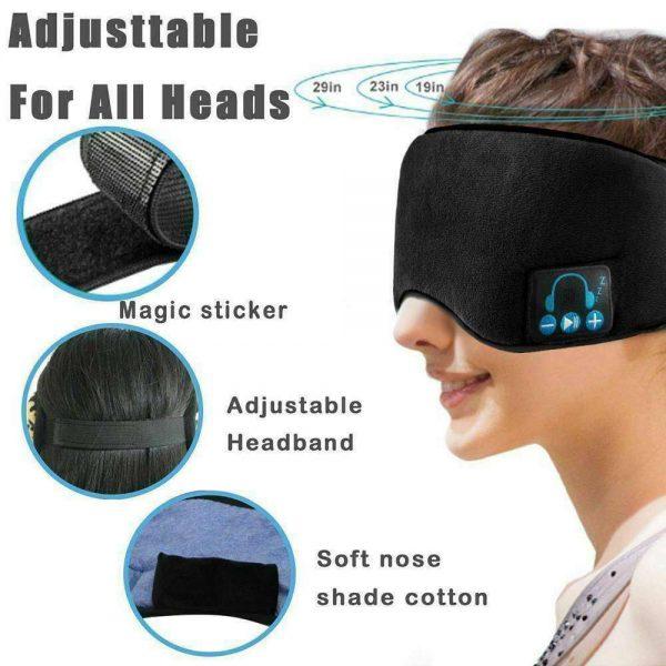 Wireless Bluetooth Stereo Sleep Earphone Built In Headphones Eye Mask Headset (9)