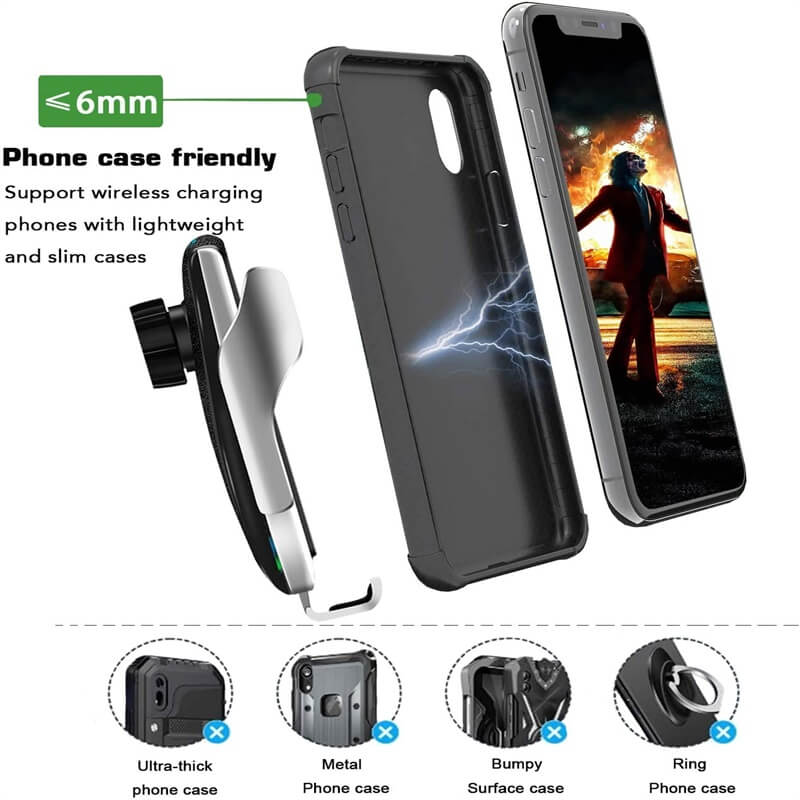 Wireless Car Charger Mount New Model Smart Sensor Auto Clamping Car Mount Air Vent Phone Holder (8)