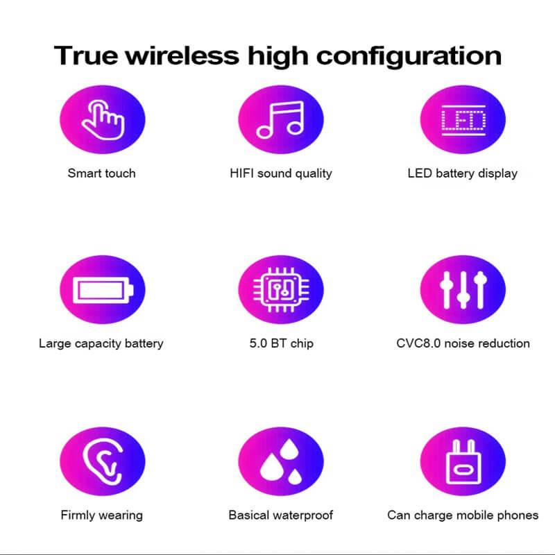 Wireless Headphone Earpohone High Configuration Battery Display Mini In Ear Sports Earbuds (5)