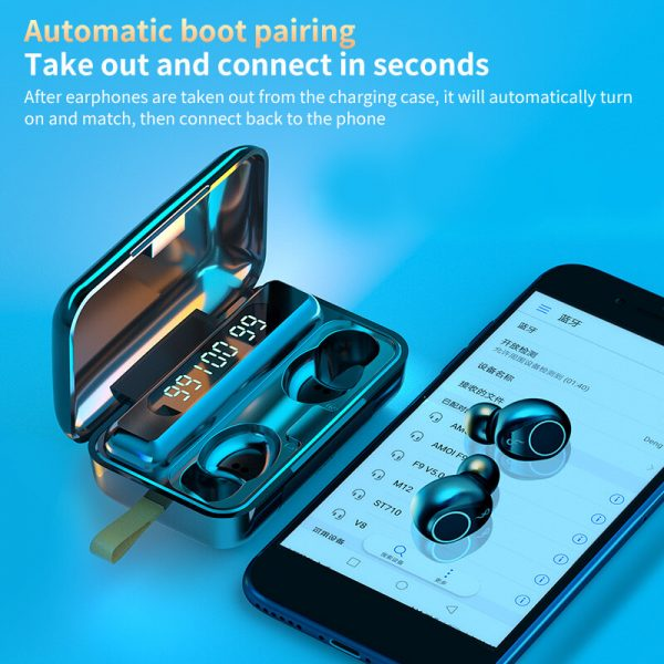 Wireless Earbuds Touch Button Noise Reduction Sports Bluetooth Digital Display Headset (3)
