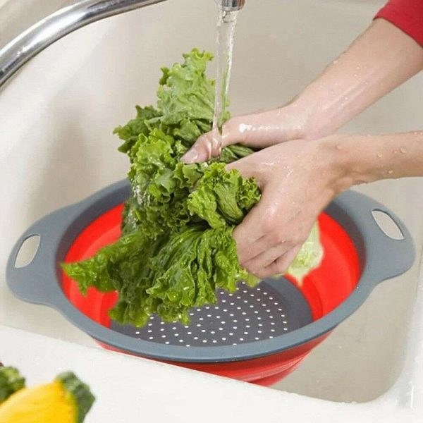 Kitchen Collapsible Colander Folding Strainer Silicone Space Save Sieve Cooking (14)