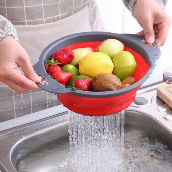 Kitchen Collapsible Colander Folding Strainer Silicone Space Save Sieve Cooking (15)