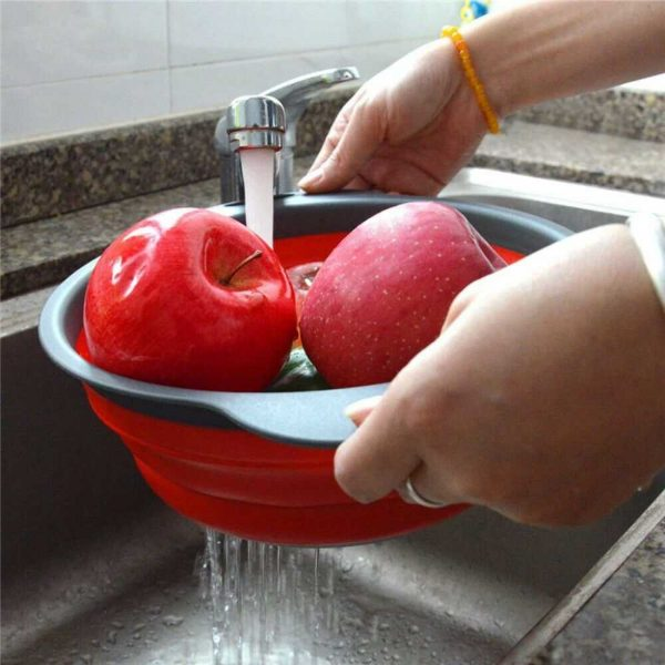 Kitchen Collapsible Colander Folding Strainer Silicone Space Save Sieve Cooking (16)