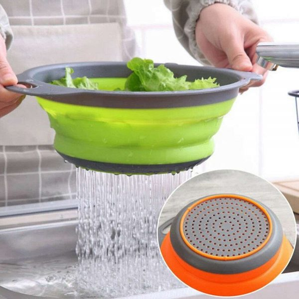 Kitchen Collapsible Colander Folding Strainer Silicone Space Save Sieve Cooking (17)
