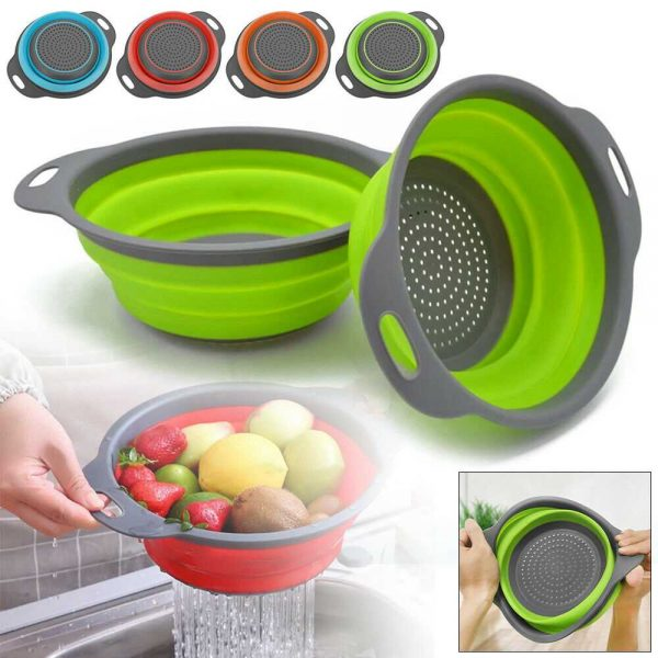 Kitchen Collapsible Colander Folding Strainer Silicone Space Save Sieve Cooking (2)