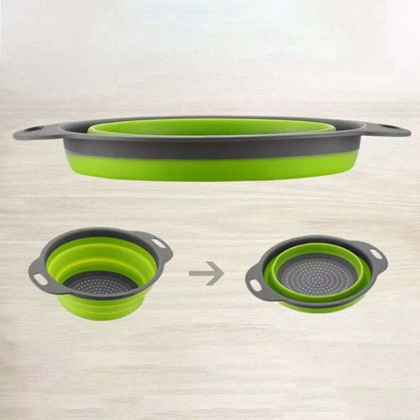 Kitchen Collapsible Colander Folding Strainer Silicone Space Save Sieve Cooking (3)
