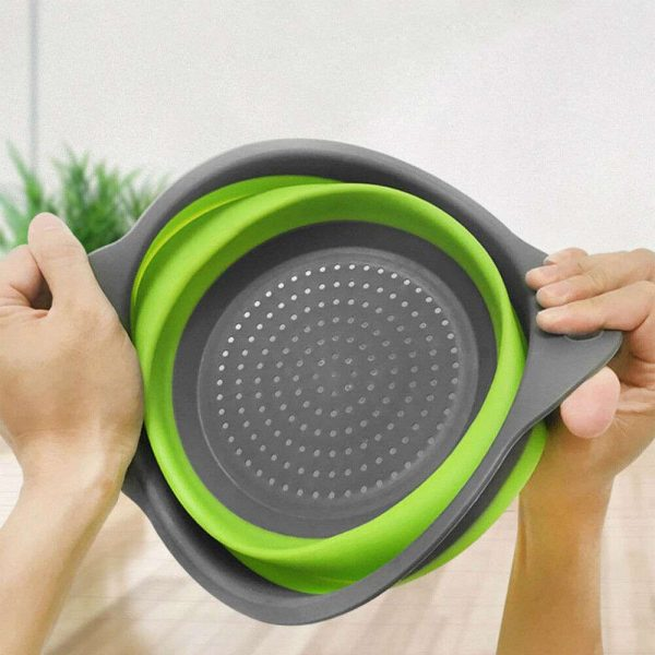 Kitchen Collapsible Colander Folding Strainer Silicone Space Save Sieve Cooking (4)