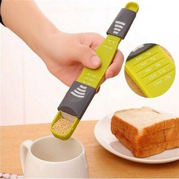 Sliding Adjustable Multi Purpose Measuring Spoon Tool Solid Liquid Ml Grams (2)