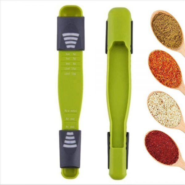 Sliding Adjustable Multi Purpose Measuring Spoon Tool Solid Liquid Ml Grams (6)