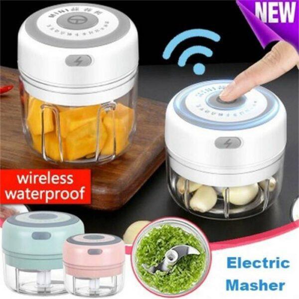 Electric Mini Garlic Masher Chili Vegetable Meat Grinder Mincer Blender Mixer (2)