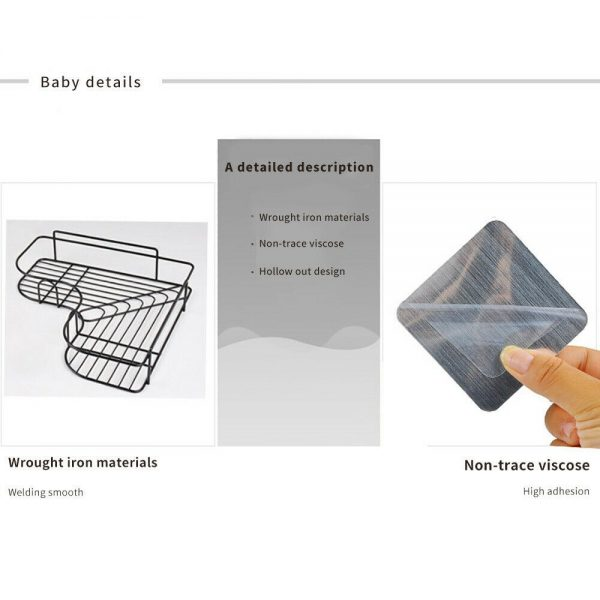 Shower Caddy Shelf Bathroom Corner Bath Storage Holder Organizer Triangular Rack (1)