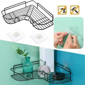 Shower Caddy Shelf Bathroom Corner Bath Storage Holder Organizer Triangular Rack (2)