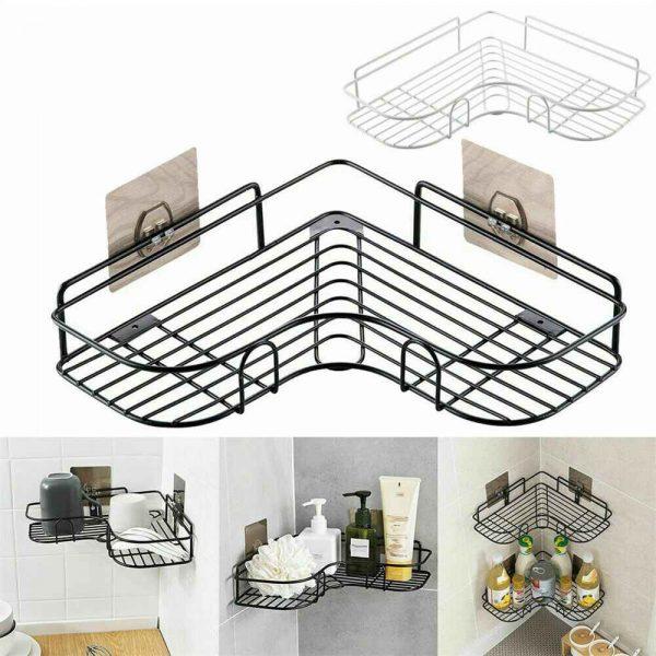 Shower Caddy Shelf Bathroom Corner Bath Storage Holder Organizer Triangular Rack (3)