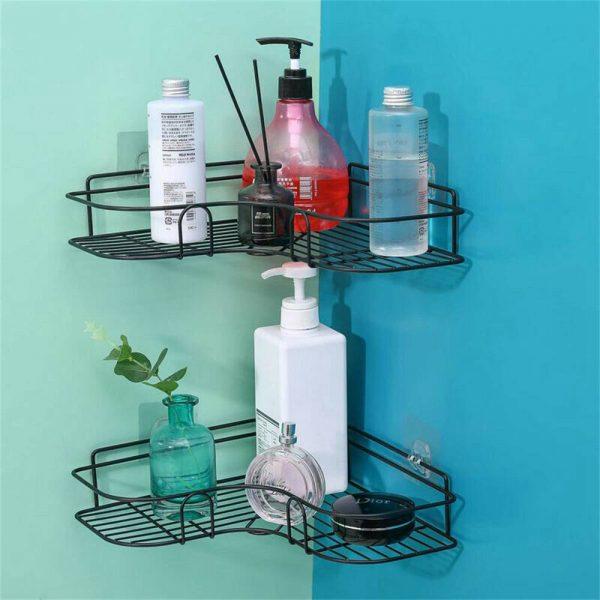 Shower Caddy Shelf Bathroom Corner Bath Storage Holder Organizer Triangular Rack (4)