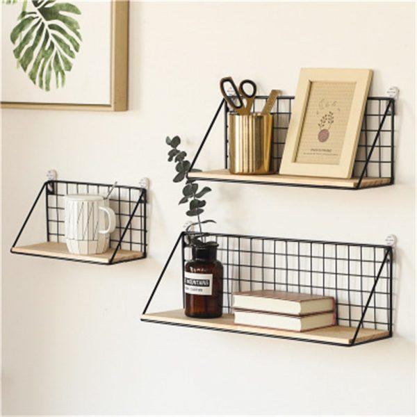 Vintage Industrial Wall Shelf Metal Wire Wood Rack Storage Display Unit Uk (2)