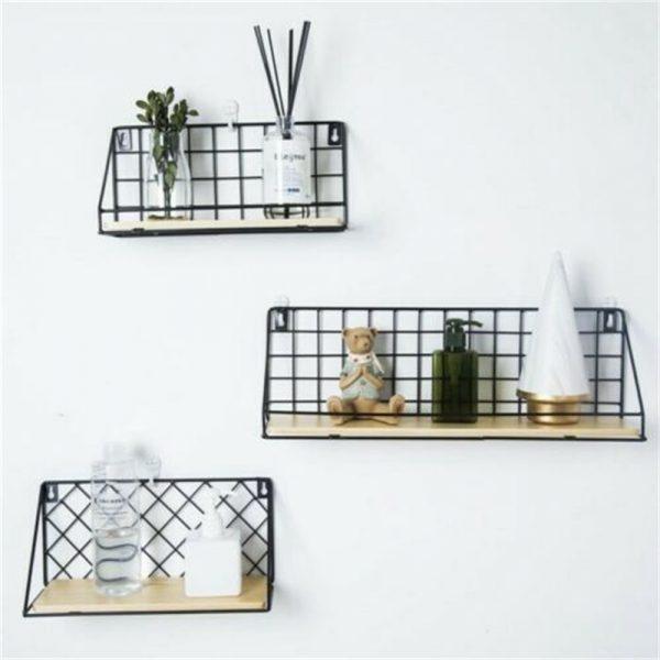 Vintage Industrial Wall Shelf Metal Wire Wood Rack Storage Display Unit Uk (6)