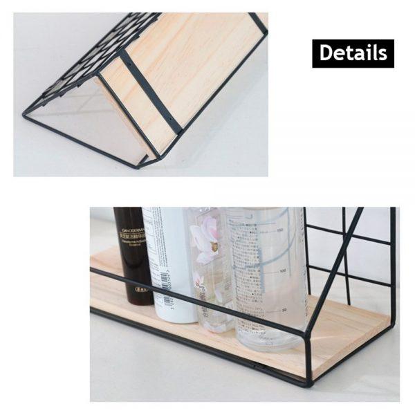 Vintage Industrial Wall Shelf Metal Wire Wood Rack Storage Display Unit Uk (8)