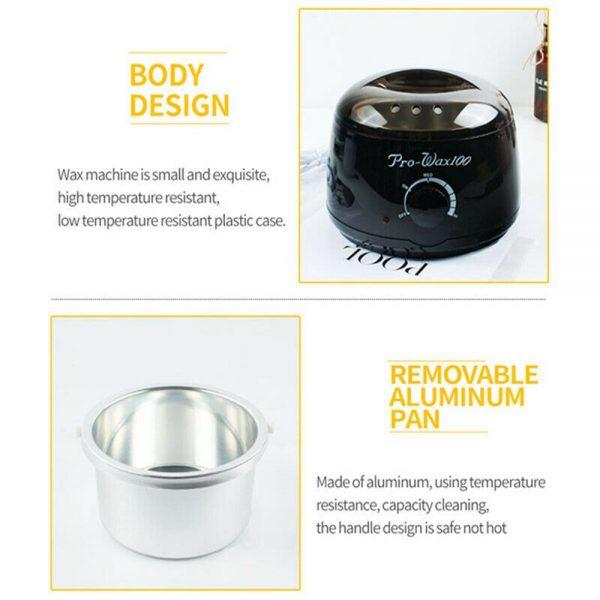 Waxing Kit Wax Heater Warmer Pot Machine Wax Beans Stick Set Strips Hair Removal (4)