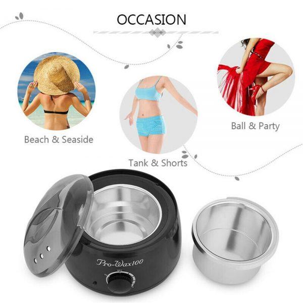 Waxing Kit Wax Heater Warmer Pot Machine Wax Beans Stick Set Strips Hair Removal (6)