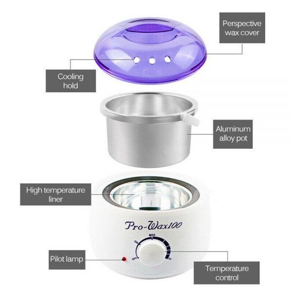Waxing Kit Wax Heater Warmer Pot Machine Wax Beans Stick Set Strips Hair Removal (8)