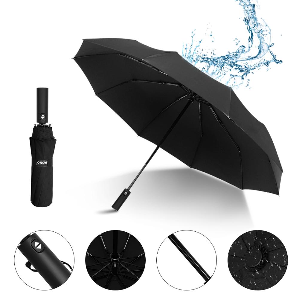 Automatic 10 Bone Strong Folding Umbrella High End Business Umbrella Unisex (1)