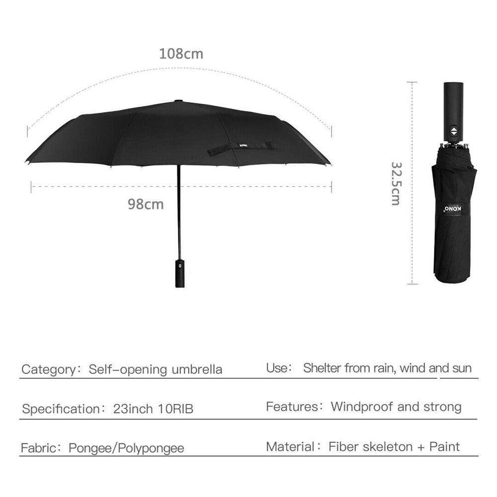 Automatic 10 Bone Strong Folding Umbrella High End Business Umbrella Unisex (10)