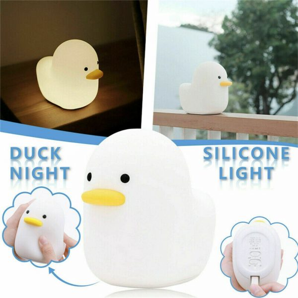 Creative Led Duck Night Light Cute Pet Silicone Children Bedside Sleeping Gift (4)