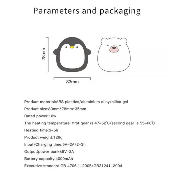 Cute Penguin Polar Bear Hand Warmer Usb Charging Mini Hand Warmers New (1)