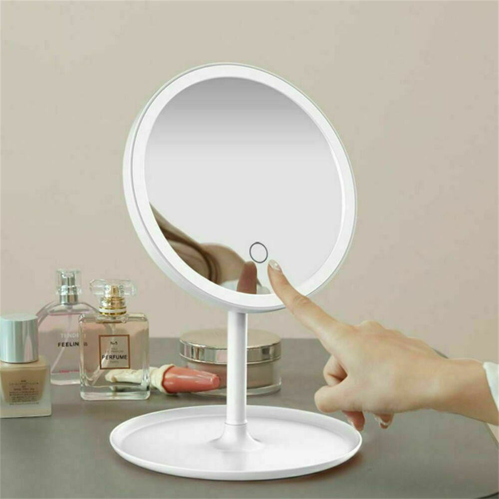 Makeup Mirror Led Desktop With Lamp Portable Usb Charging Three Color Light Dressing Mirror (10)