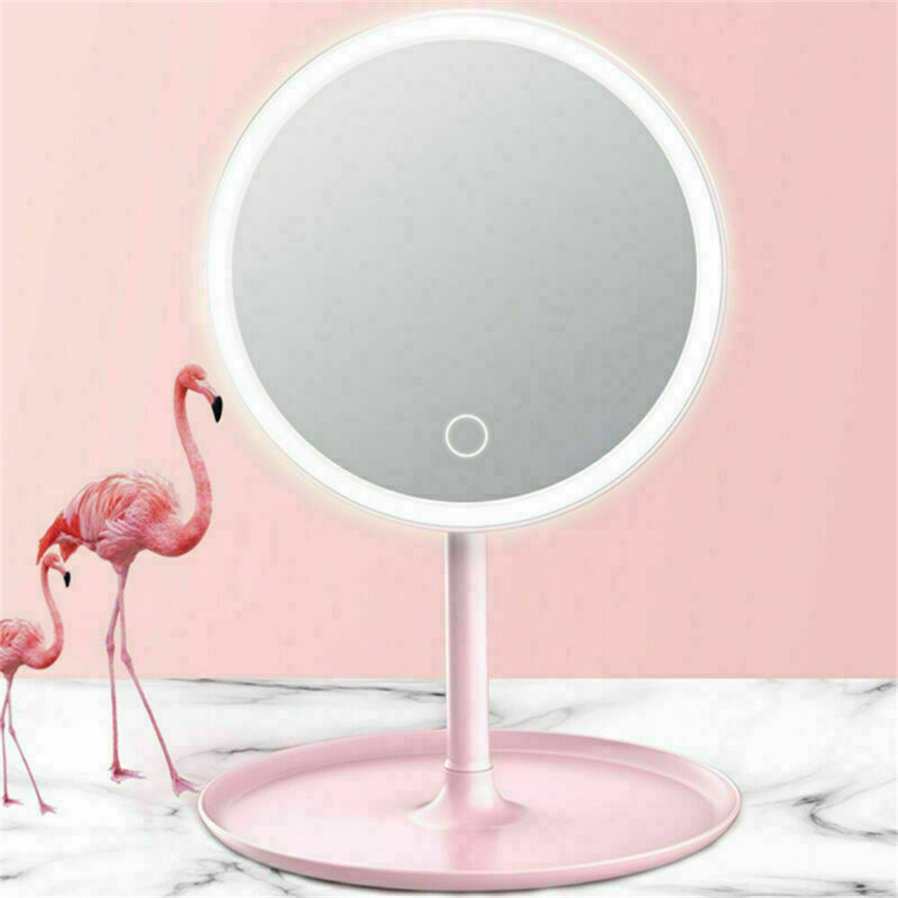 Makeup Mirror Led Desktop With Lamp Portable Usb Charging Three Color Light Dressing Mirror (12)